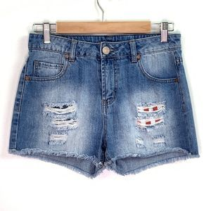 Fire Los Angeles American Flag Distressed Shorts